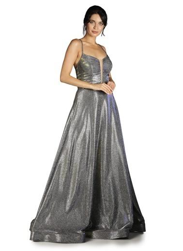 Pierre Cardin Simli Taş İşlemeli Uzun Abiye Elbise Saks